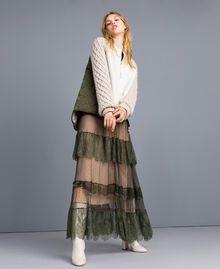 Blouson en faux mouton et nylon Bicolore Vert Forêt / Blanc Neige Femme TA82BP-04