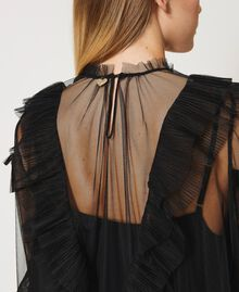 Tulle dress with pleated flounces Black Woman 211TQ2047-04