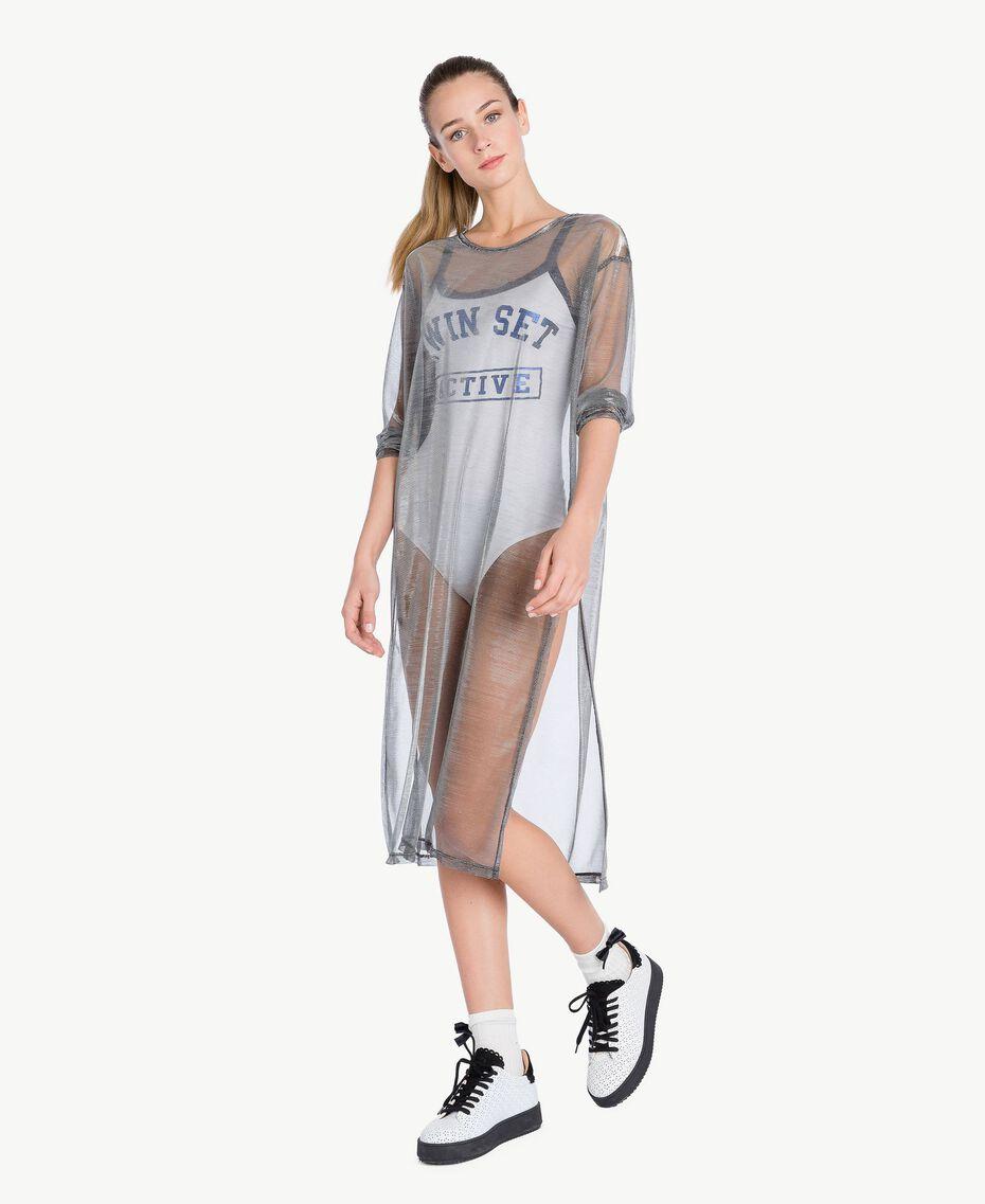 Kleid mit Beschichtung Lamé-Grau IA79BB-02
