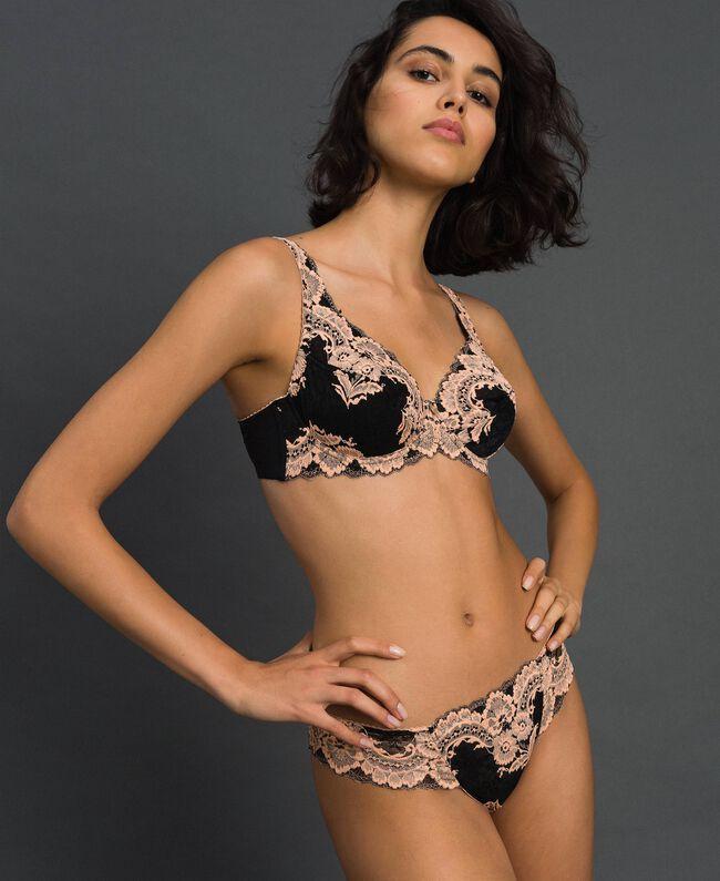 Soutien-gorge à armatures en dentelle bicolore Noir / Rose «Pêche» Femme 192LL6DWW-01