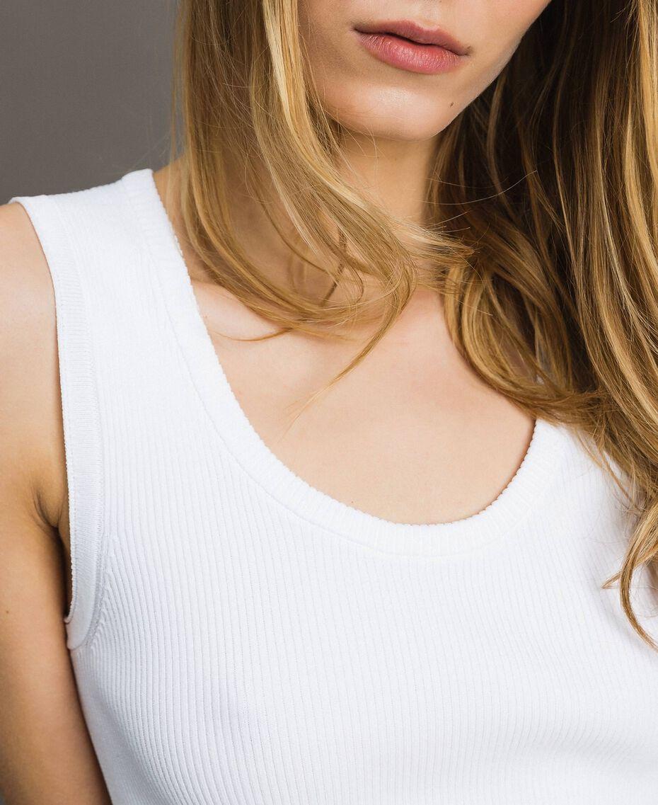 """Top en maille côtelée Bicolore Blanc Optique / Jaune """"Jus de Citron"""" Femme 191LL36EE-05"""