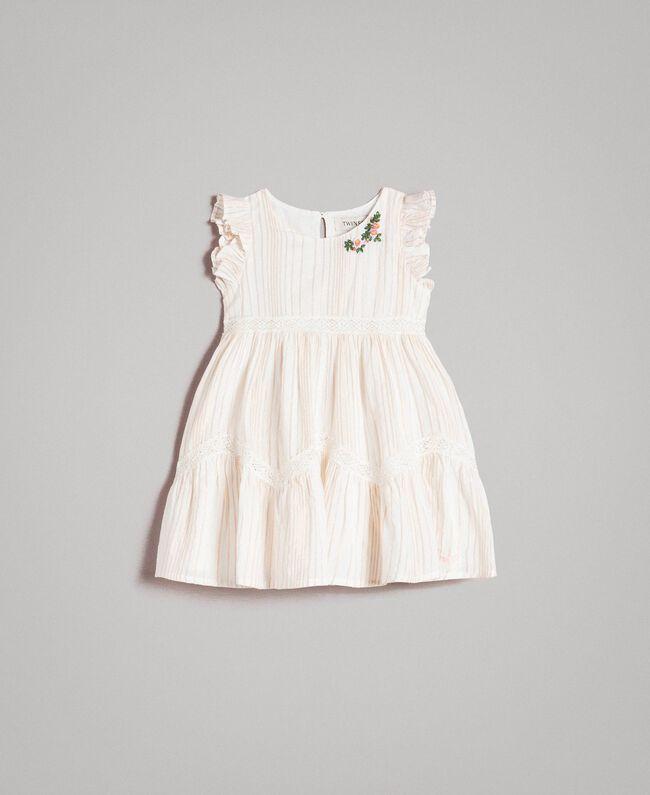 """Geknüpftes Lurex-Musselin-Kleid mit Streifen """"Wooden Stick"""" Jacquard Kind 191GB2551-01"""