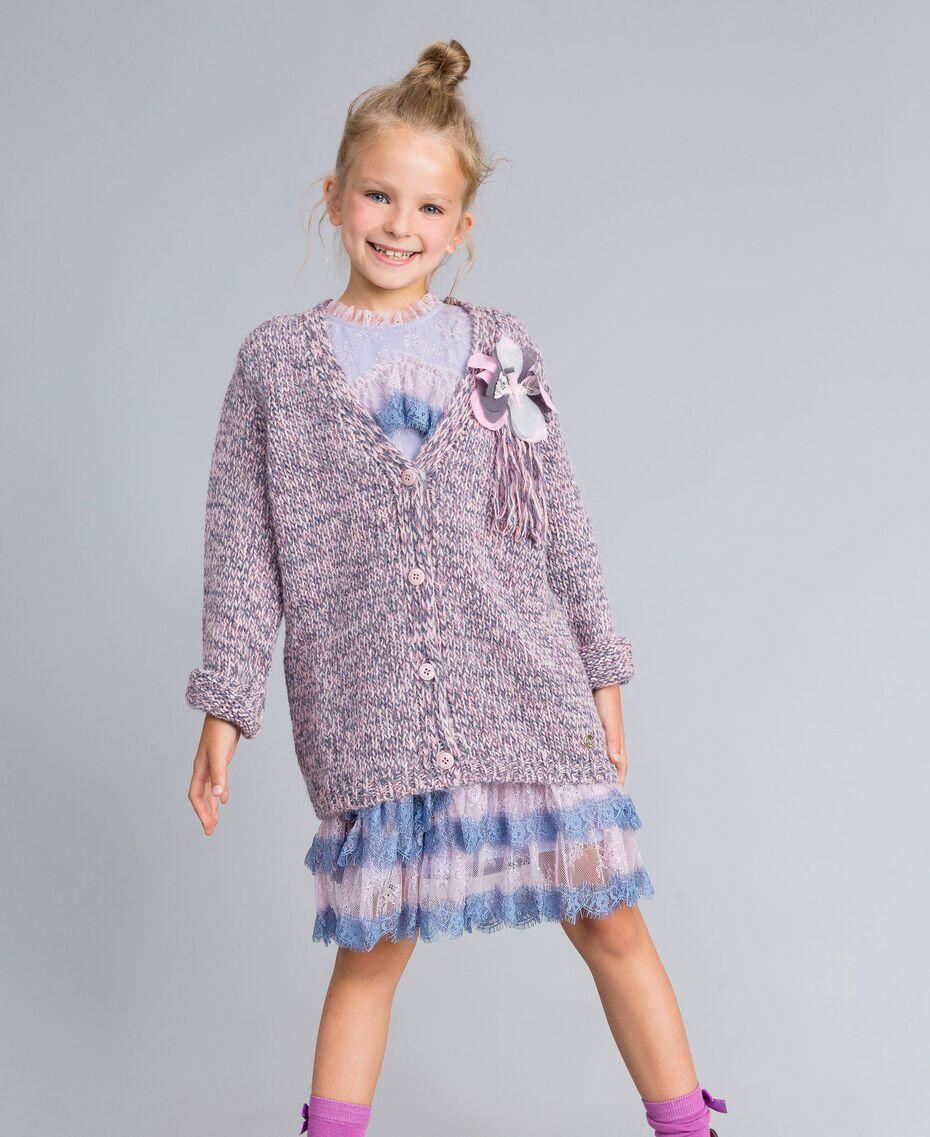 Maxi cardigan in mouliné yarn Multicolour Jacquard Child GA83EN-02