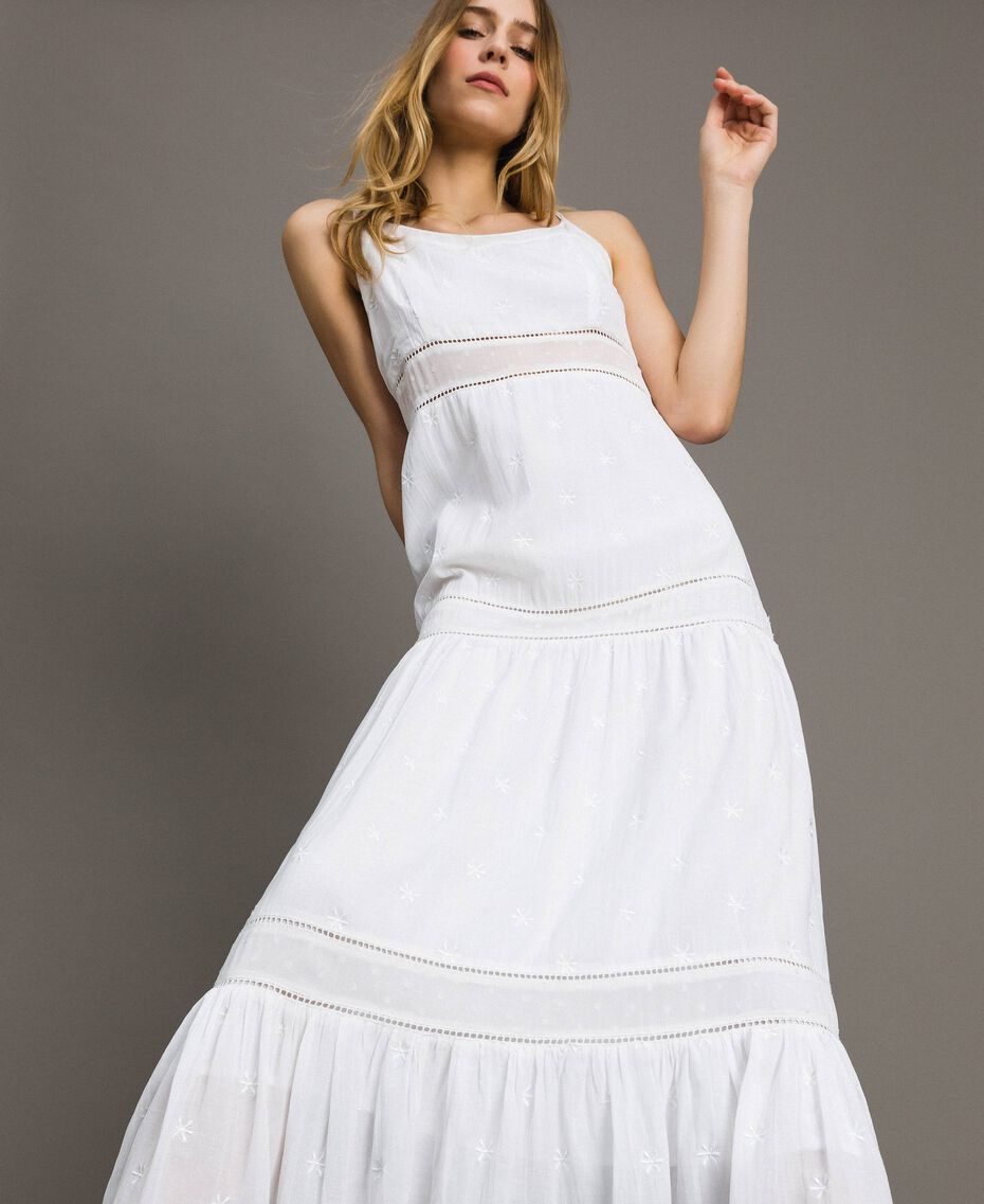 Robe longue avec broderie anglaise Blanc Femme 191LB2EAA-01