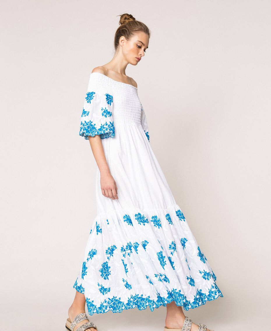 """Long scalloped dress with embroideries Two-tone """"Bay"""" Blue / Optical White Woman 201LM2NDD-02"""