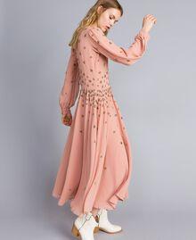Robe longue en crêpe georgette avec broderie Rose Pâle Femme TA826A-02