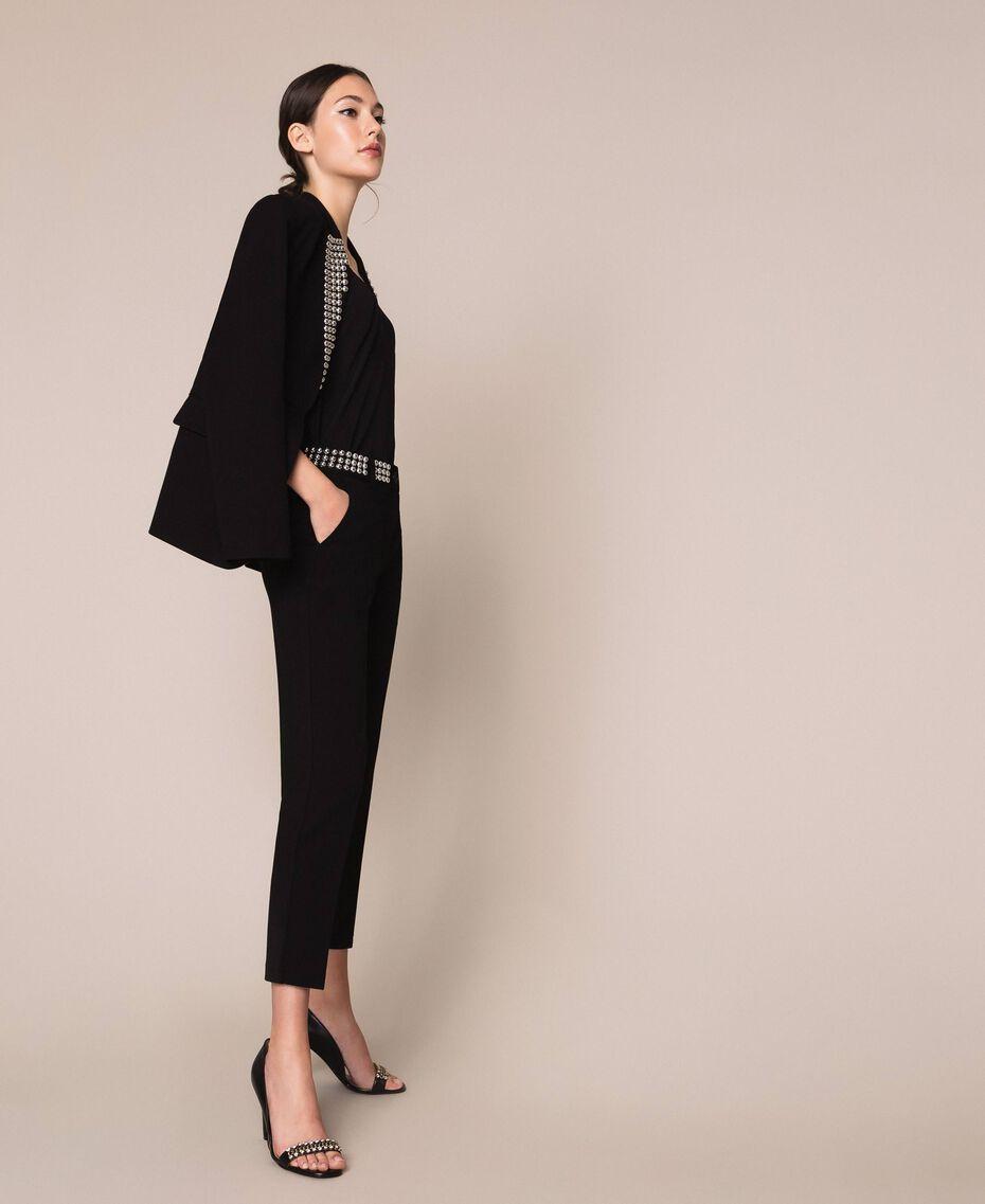 Pantalon cigarette avec clous Noir Femme 201MP2214-02