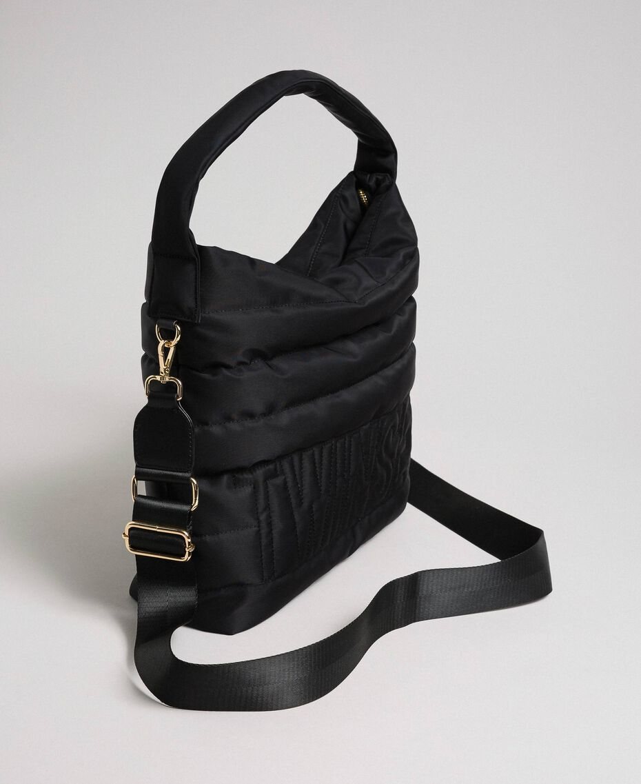 Padded hobo bag with shoulder strap Black Woman 192TO8063-01