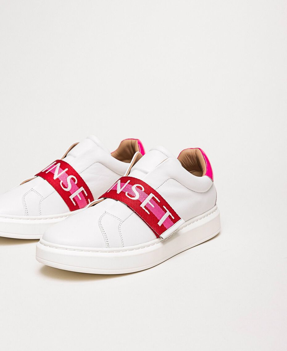 """Leather trainers with logo band Multicolour Optical White / """"Geranium"""" Red /""""Jazz"""" Pink Woman 201TCT064-01"""