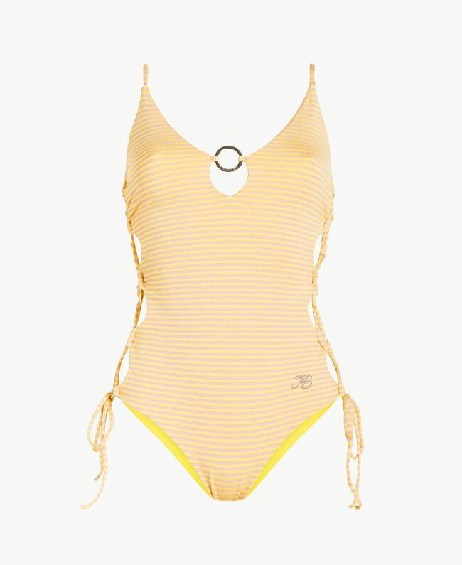 Striped one-piece swimsuit Yellow Fizz Lurex Stripes Woman MS8C00-01