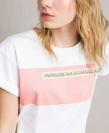 """Printed and embroidered T-shirt Two-tone Optical White / """"Macaron"""" Pink Woman 191TP2294-01"""
