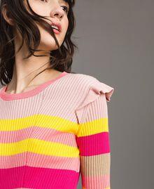 Gestreifter Pullover mit Rüschen Multicolour Regenbogen Frau 191TP3270-04