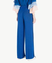 Pantalon palazzo Jacquard Lurex Bleu Marine «Pivoine» Femme SS83EE-03