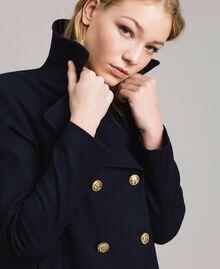 Caban en laine à double boutonnage Bleu Foncé Femme 191TP2510-01