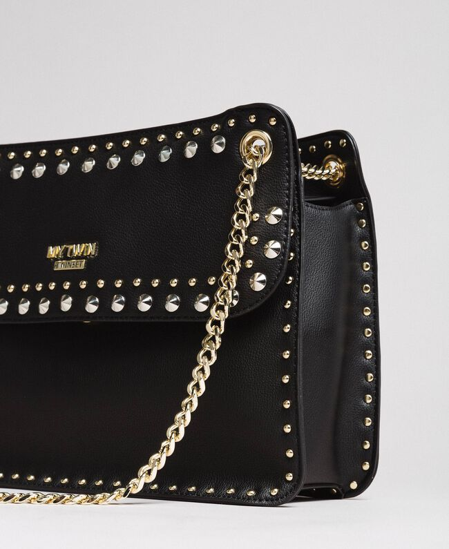 """Faux leather shoulder bag with studs """"Surreal Pink"""" Woman 191MA7141-03"""