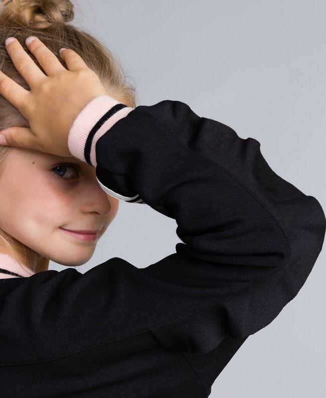 "Technical fabric sweatshirt with logo Bicolour Black / ""Blush"" Pink Child GA82PN-04"