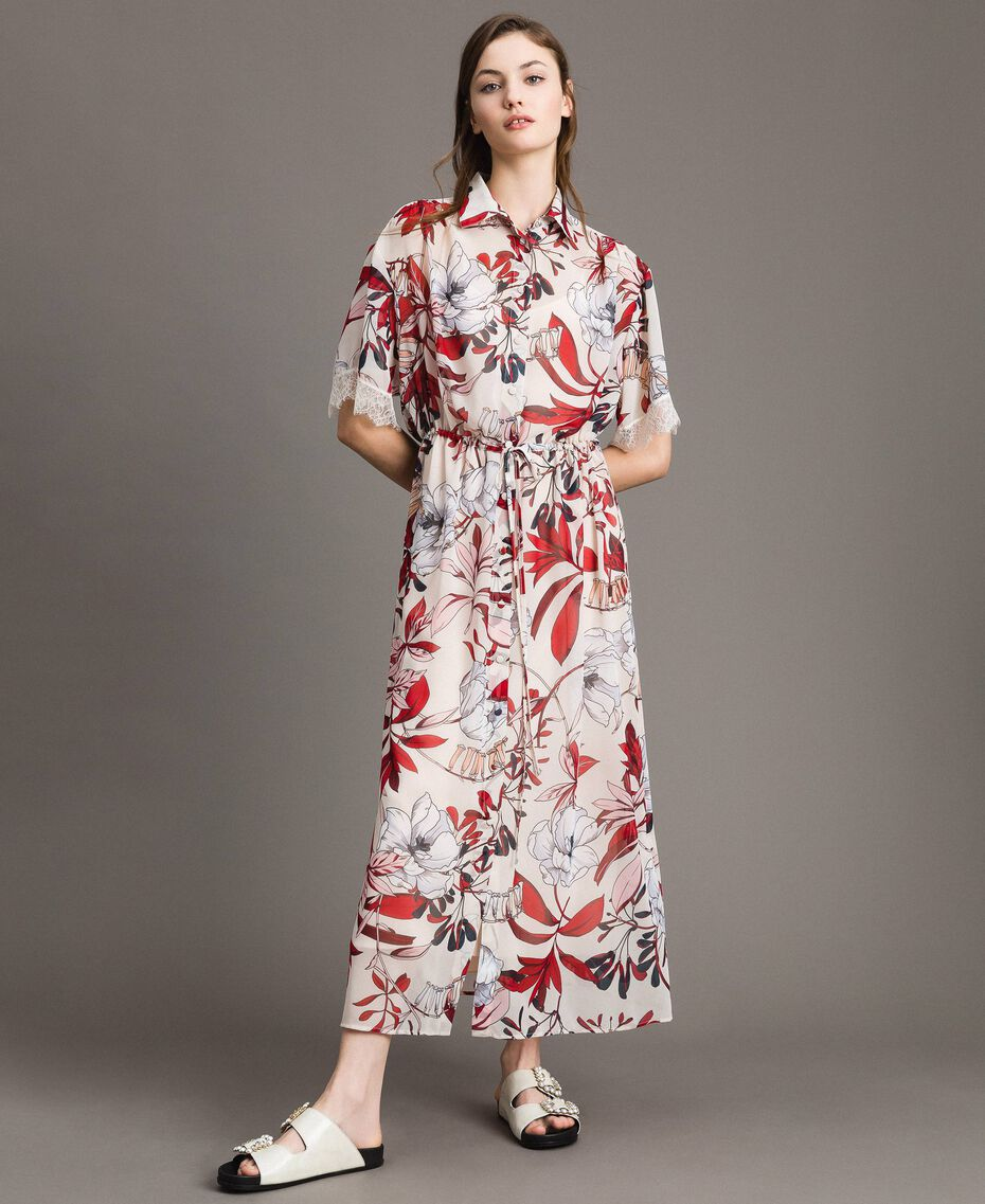 Long floral print georgette dress Exotic Ecru Print Woman 191ST2224-01
