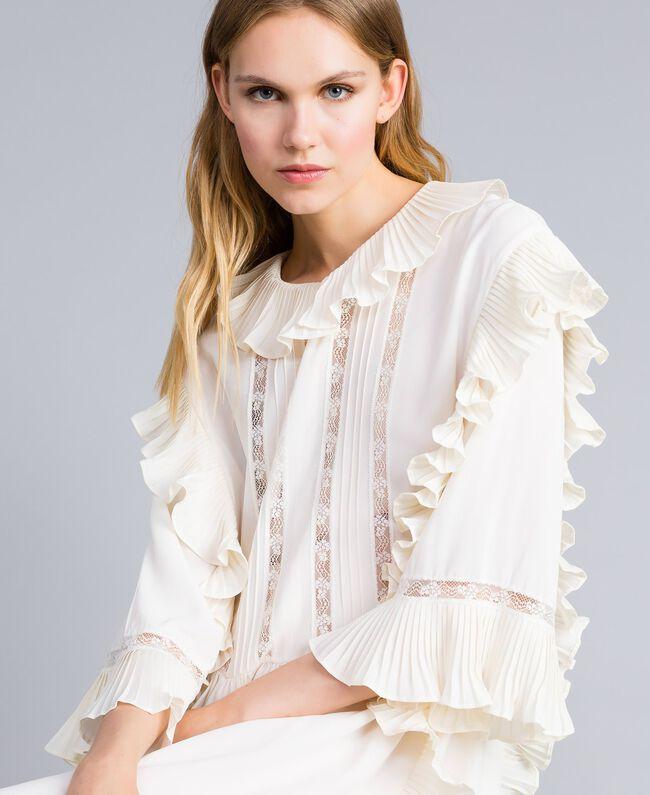 Robe courte en soie mélangée avec plissé Blanc Neige Femme TA823P-04