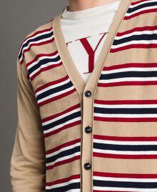 "Crêpe cotton striped cardigan Multicolour Porcelain Beige / ""Dark Raspberry"" Red Man 191UT3032-05"