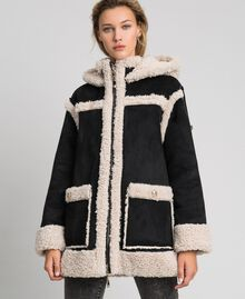 "Faux shearling reversible coat Black / ""Vanilla"" White Woman 192MT2021-02"