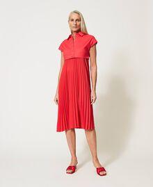 """Irena"" poplin long dress with pleats ""Coral Kiss"" Red Woman 211MT2092-02"