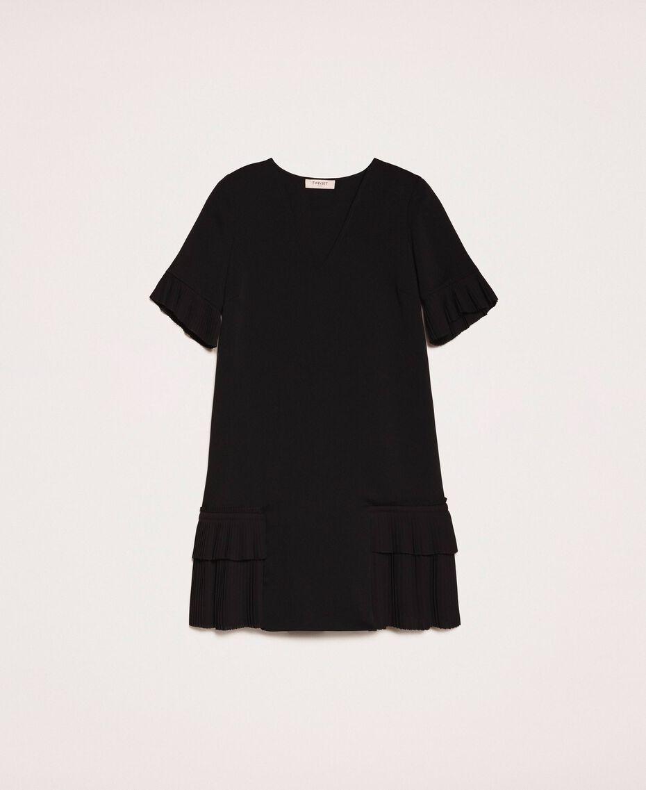 Платье из жоржета с плиссировкой Черный женщина 201TP2026-0S