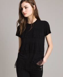 T-shirt avec volants en tulle plissé Noir Femme 191MP2235-01