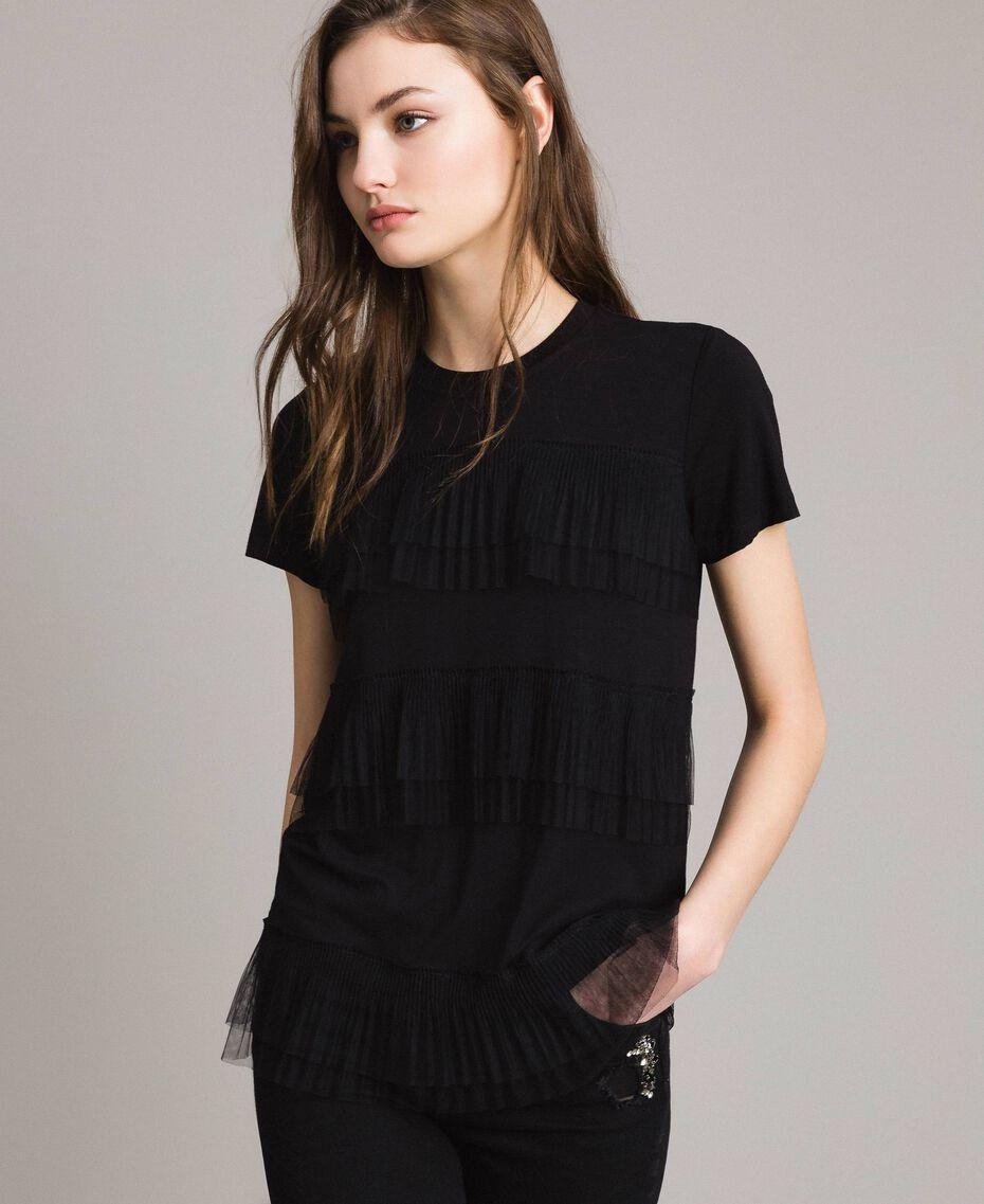T-shirt con balze in tulle plissé Nero Donna 191MP2235-01