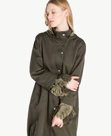Ruffled parka Army Green Woman PS824Q-04