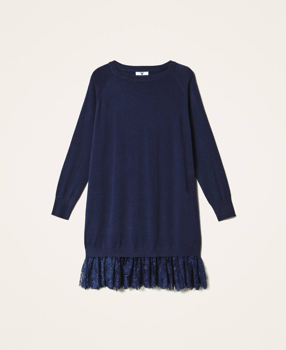 Knitted dress with lace hem Blackout Blue Woman 202LI3RFF-0S