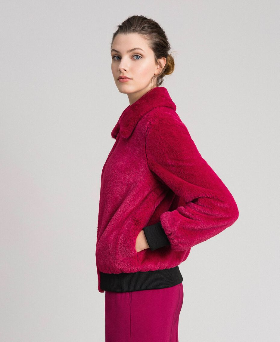 Faux fur bomber jacket Red Amaranth Woman 192MP2042-01