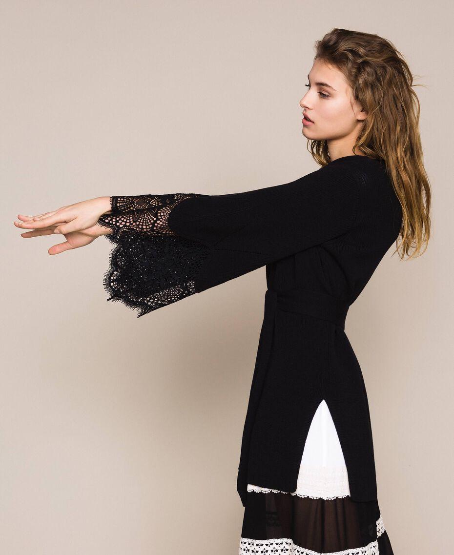 Maxi cardigan côtelé avec dentelle Noir Femme 201TP3121-01