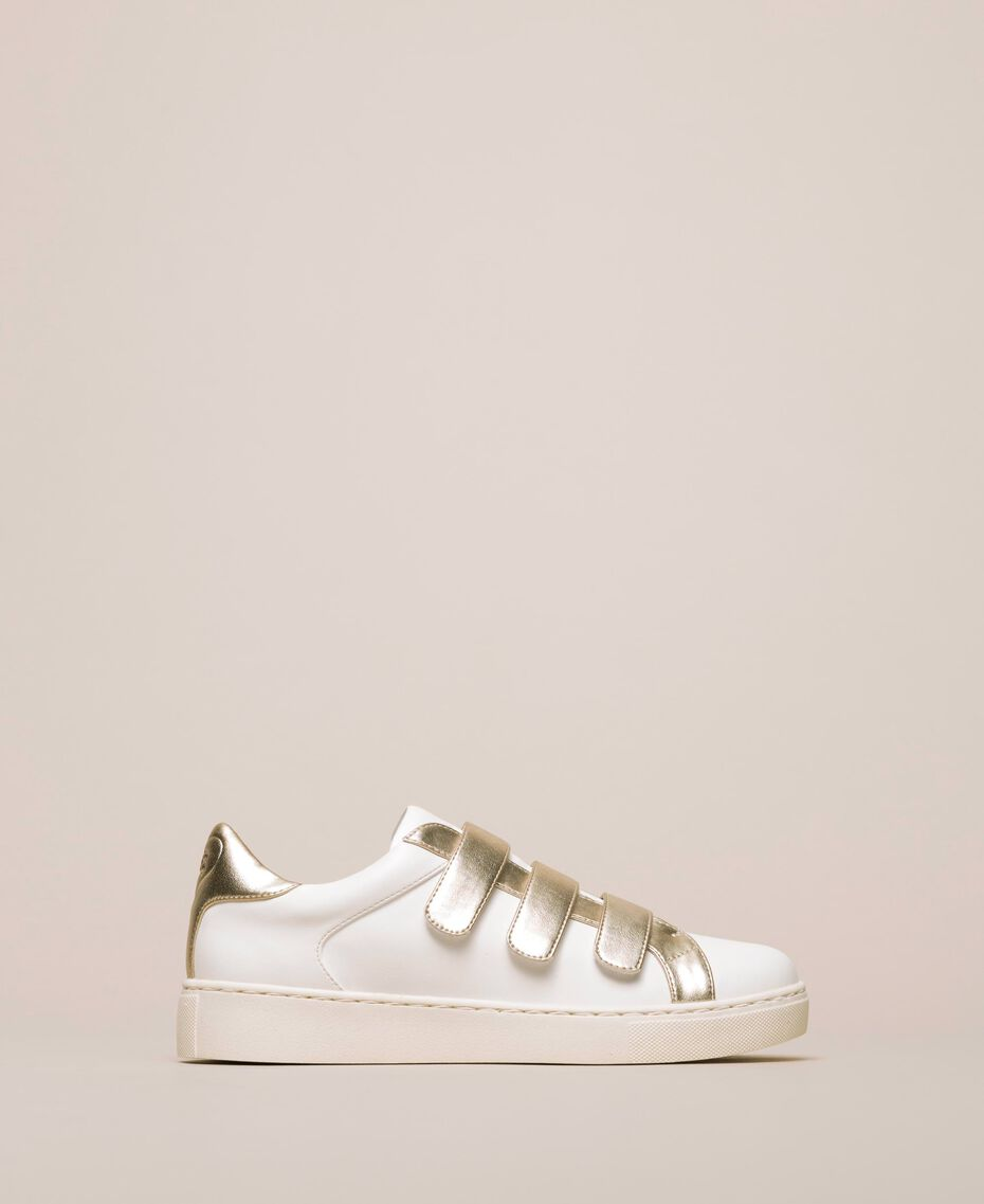 Sneakers in similpelle Avorio Donna 201LLPZAA-01