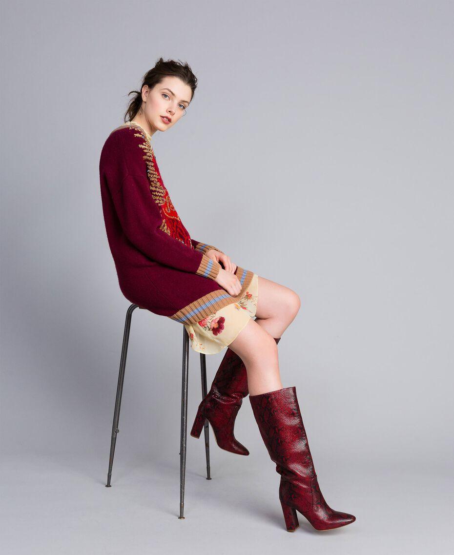 Bottes hautes en cuir Python Bordeaux Femme CA8PLJ-0S