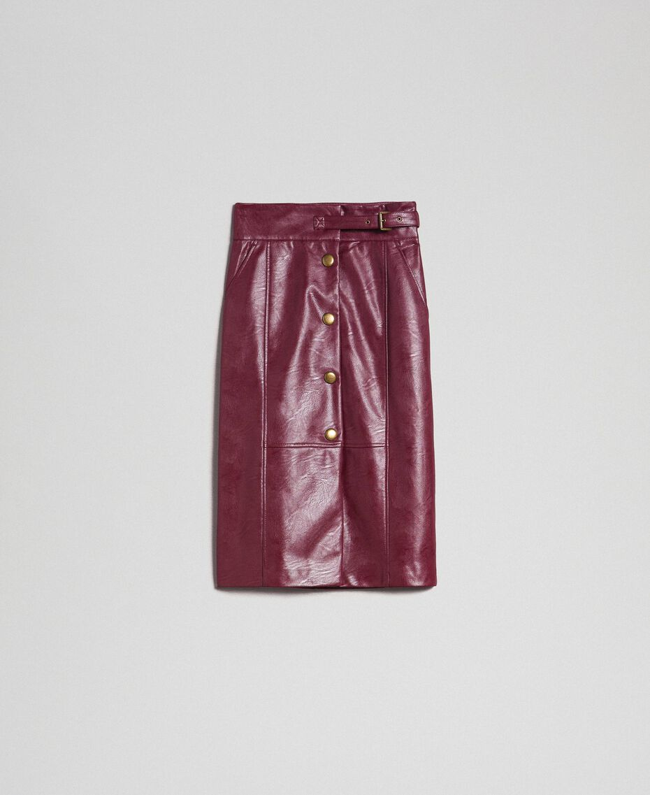 Jupe mi-longue en similicuir Rouge Velours Femme 192TT203B-0S