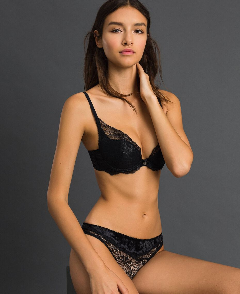 Carioca laminated lace push-up bra Black Woman 192LL6H33-01