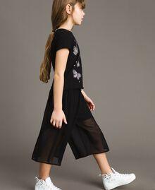 T-Shirt aus Jerseystoff mit Schmetterlingen und Strass Schwarz Kind 191GJ2310-03