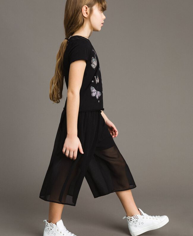 Jersey T-shirt with butterflies and rhinestones Black Child 191GJ2310-03