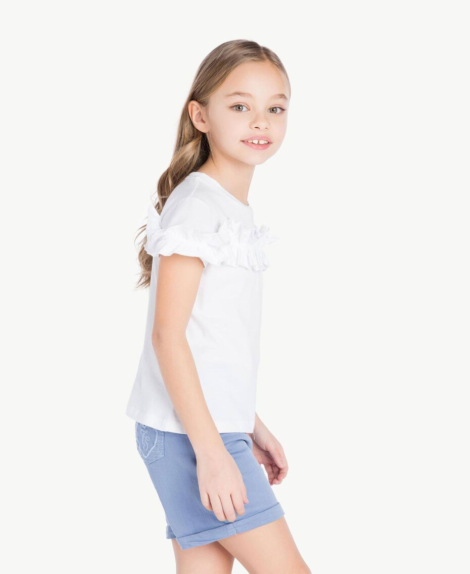 "T-shirt ruches Bianco ""Papers"" Bambina GS82KQ-03"