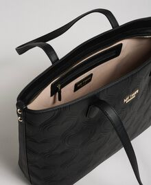 Borsa shopper in similpelle stampa cuori Nero Donna 192MA7010-04