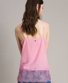 Crêpe de Chine top with lace flounces Hydrangea Pink Woman 191MP2452-03