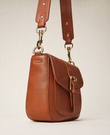 Round Rebel shoulder bag Leather Brown Woman 202TD8172-02
