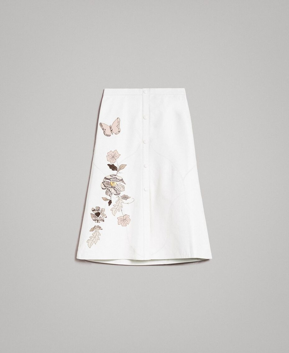 Leather skirt with patch embroidery White Snow Woman 191TT2172-0S