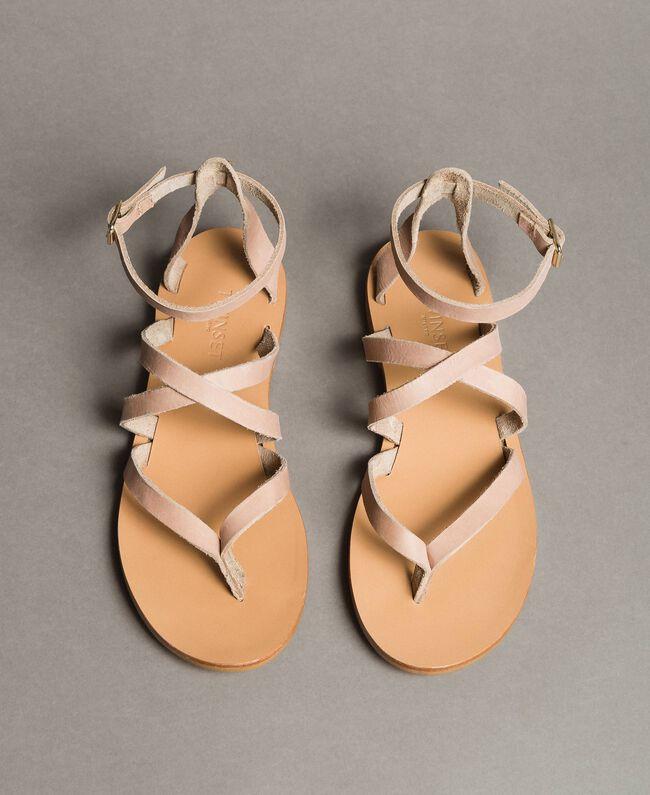 Leder-Sandalen mit Riemchen Nougat Beige Frau 191TCT09U-03