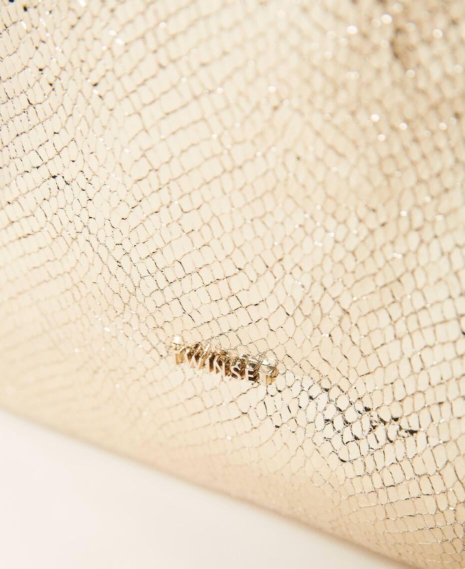 Borsa shopper con stampa laminata Stampa Pitone Oro Chiaro Donna 211LM7ZLL-03