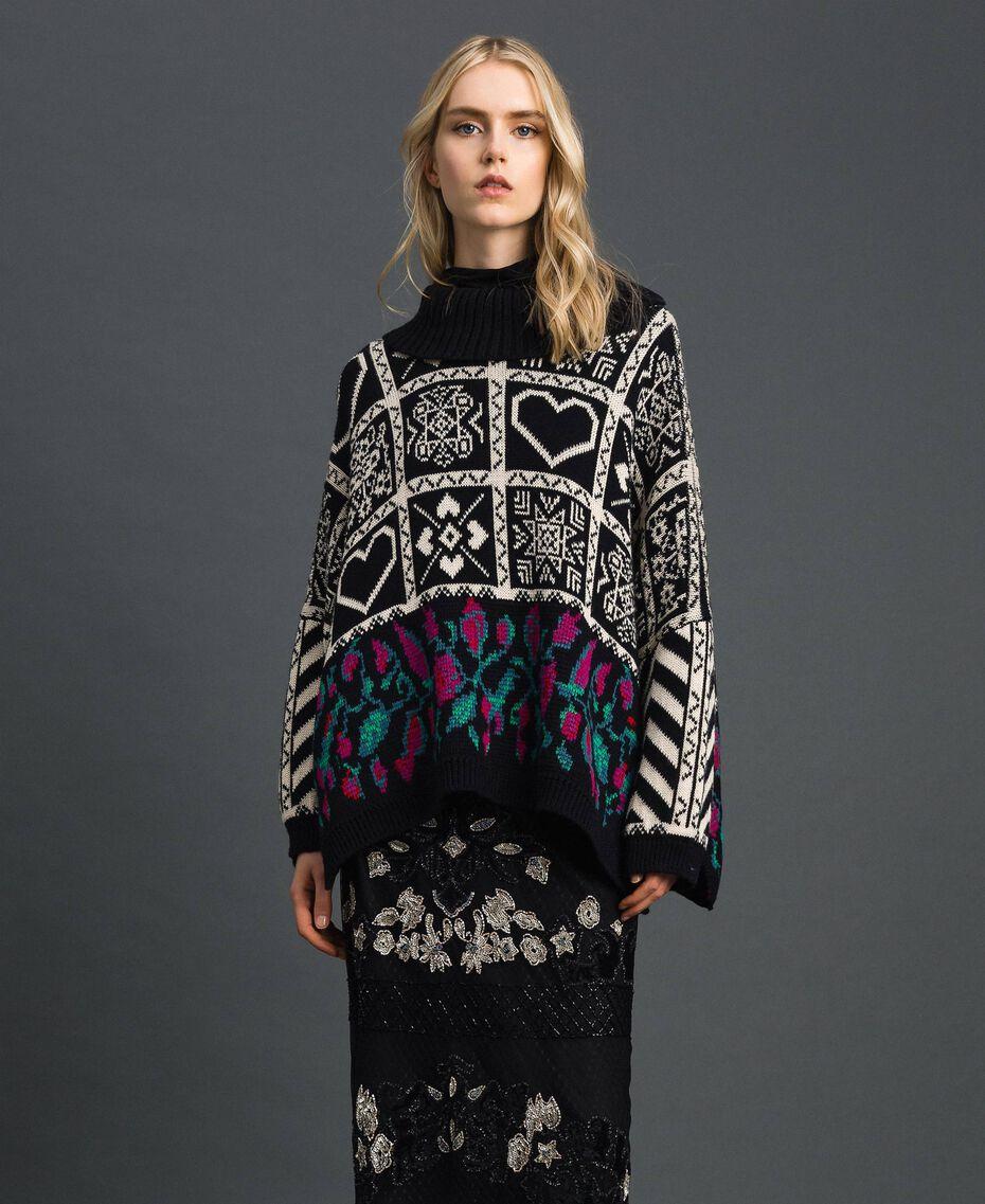 Pull jacquard en laine mélangée Jacquard Blanc «Neige»/ Noir Femme 192TT3160-02