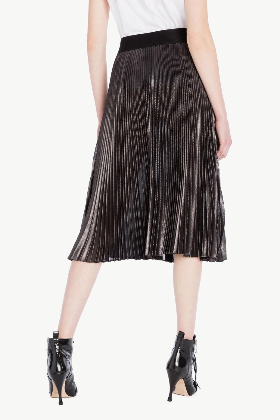 Jupe plissée Noir «Canon de Fusil» Métallisé Femme PS82QN-03