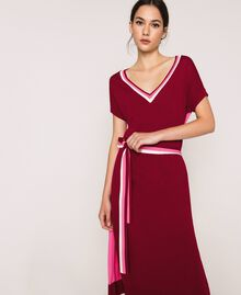"""Двухцветное трикотажное платье с поясом Двухцветный Красный """"Пурпурный"""" / Супер-розовый женщина 201ST3030-02"""