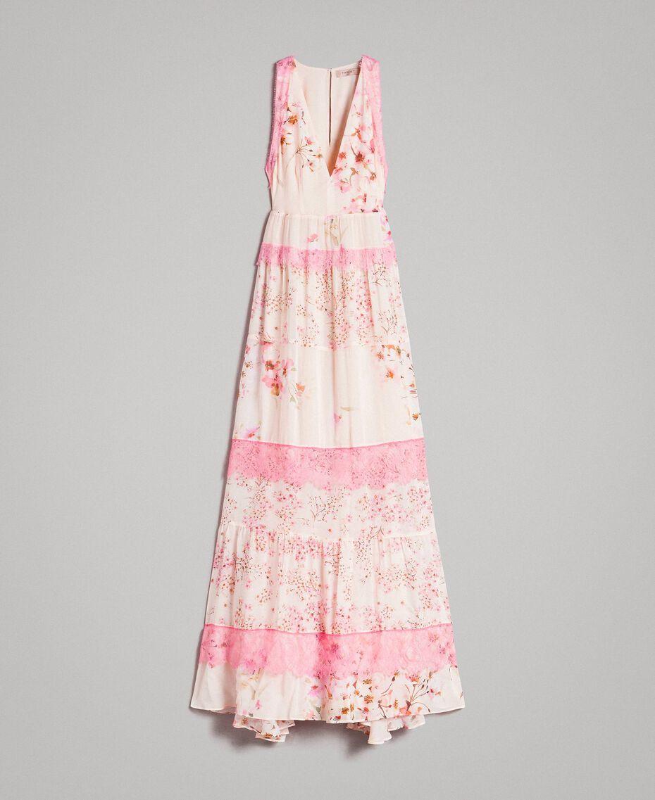 """Robe longue en georgette à motif floral Imprimé Rose """"Bouton De Rose / Peach Mix"""" Femme 191TP2713-0S"""