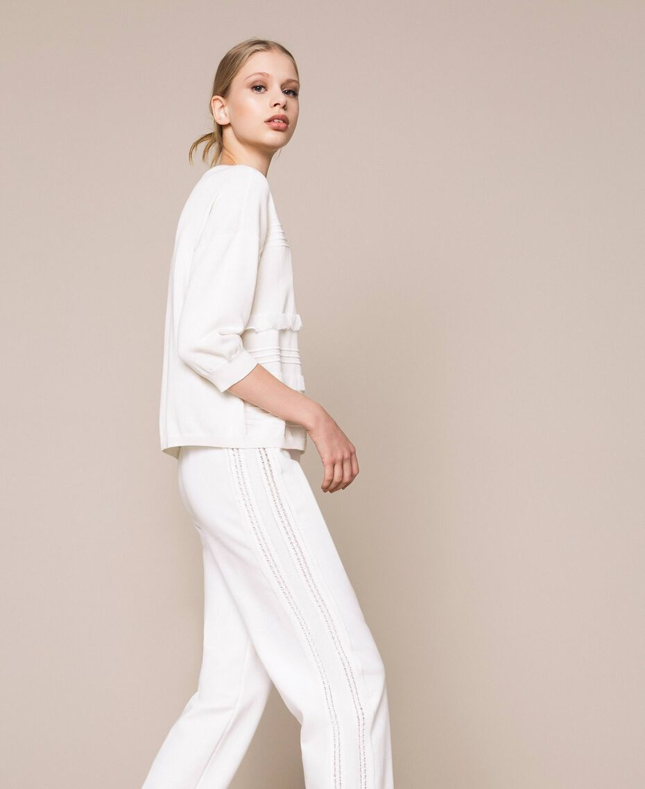 Jumper with stitching and frills White Woman 201ST3063-02